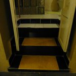                    uneven steps to smelly bathroom