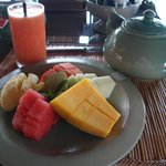  Breakfast starts with fresh fruit or smoothies
