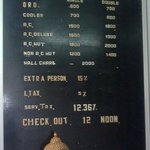                   Hotel rooms Tariff at reception counter