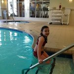 pool was kinda cold but she braved it anyway!