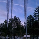 Icicles can get big off the overhang