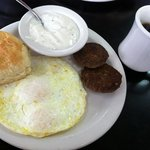 breakfast special #2 over medium eggs with sausage patties