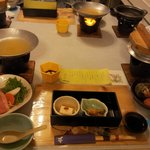                    Kaiseki, traditional multi-course Japanese dinner, at the hotel