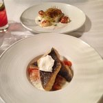 Pan-fried scallops with leek fondue and herring caviar & Pan-fried sea bream, seasonal baby vege
