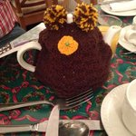 hand knitted tea cozy which you can buy