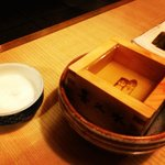 Masu cup filled with Sake!!!!!