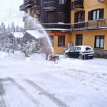                    staff clearing snow