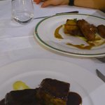                   brownie de ternera y presa iberica