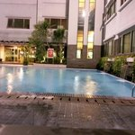                    Pool at nite...has a 0.5m kids dip pool and this 1.5m squarish pool.