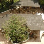 View of shaded cafeteria area, from room