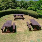 seating area by barbecue