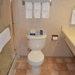  Our upstairs rooms are equipped with showers.  Our downstairs units have bathtubs.