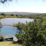 The view from the decking over the plunge pool and the watering hole