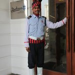 Radisson Blu Marina Connaught Place entrance and the friendliest doorman.
