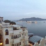 Evening rooftop view of Lake Pichola