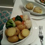 excellent selection  of steamed vegetables to accompany  the main course