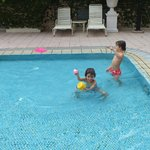 Kids playing in wading pool