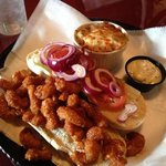                    firecracker shrimp po boy with baked potato casserole