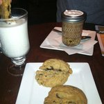 peanut butter and chocolate chip cookies with milk