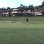 Practise putting green in front of clubhouse