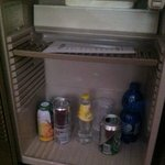                    open beer can and missing items in minibar