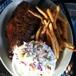 Ribs with cole slaw and fries, the BBQ beans were also excellent