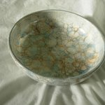 A bowl that I decorated using bubbles!