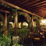                    The outdoor dining area at night
