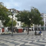                                      Rossio Square, hotel is on a background