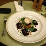 Starter of butternut squash, goats cheese and beetroot shavings