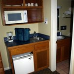 Fridge, microwave and even dishes (a nice addition), bathroom was spotless