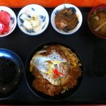 Katsudon Set - 47Bs. Side dish; red pickled radish, a stalk of cauliflower, stewed pork with egg