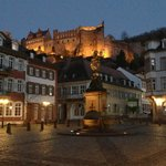 View of Heidelberg Castle from the Old Town at Night