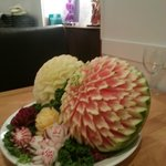  A beautifully hand carved melon