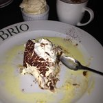 Wonderful chocolate mascarpone cheesecake and vanilla bean gelato with a cappu