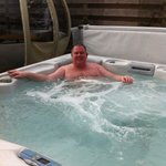 Relaxing in hot tub!