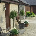 Courtyard view of B&B entrance and Blacksmiths Cottage