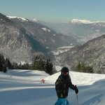 skiing with view down the valley