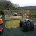 The new tractor/ride on area, with rabbit and guinea pig enc