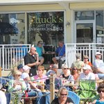 Watching the Shrimp Festival from Chucks Last Stop