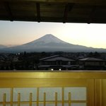  view of mt fuji from the onsen at sunset