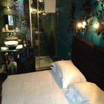 room with a queen bed and shower
