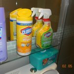  My own cleaning supplies, just to survive here!!!