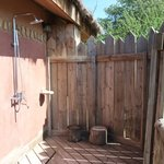 Outdoor shower at Escarpment Lodge
