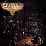 The massive chandelier in the lounge