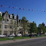 Set back from the road on the Square in Grantown