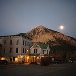  Hostel and Mount Crested Butte on full moon