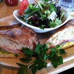 Cuban sandwich with salad
