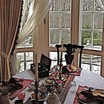 Elegant breakfast served at Hamanassett overlooking the terrace