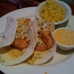 Fish tacos with a side of corn (chipotle tartar sauce)